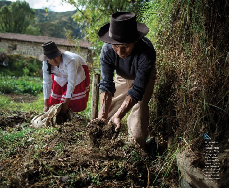 El Yachachiq Silverio Huaccharaqui enseña a Nelly cómo proteger las hortalizas y frutales de su biohuerto frente a las heladas y otros efectos del cambio climático  | © MIDIS, COSUDE, HELVETAS / Enrique Castro Mendivil