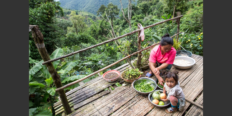 Bouvanh Tung (daughter in law of Khampao Tung) 21 yo; mother of with Sivanh Tung; 4 yo; tea farmer; Ban Komaen (Phunoi Village); Phongsali District; Laos; preparing food for the family  | © Patrick Rohr